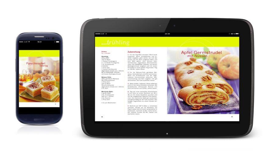 Kronenöl Backbuch App zu sehen auf Android Handy und Tablett. Ausgezeichnete Darstellung der farbenfrohen Backrezepte.