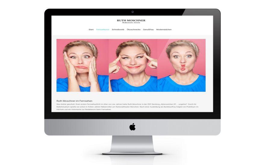 Ruth Moschner Webseite gestaltung und erstellung durch Werbeagentur wien, vorstellung Kundenprojekt. Webseite für prominente persönlichkeiten erstellen.