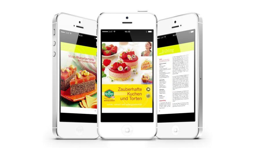Kronenöl Backbuch App realisiert von Thomas Sixt Werbeagentur Wien. Rezepte und Bilder werden im Hochformat ausgezeichnte und zoombar angezeigt.