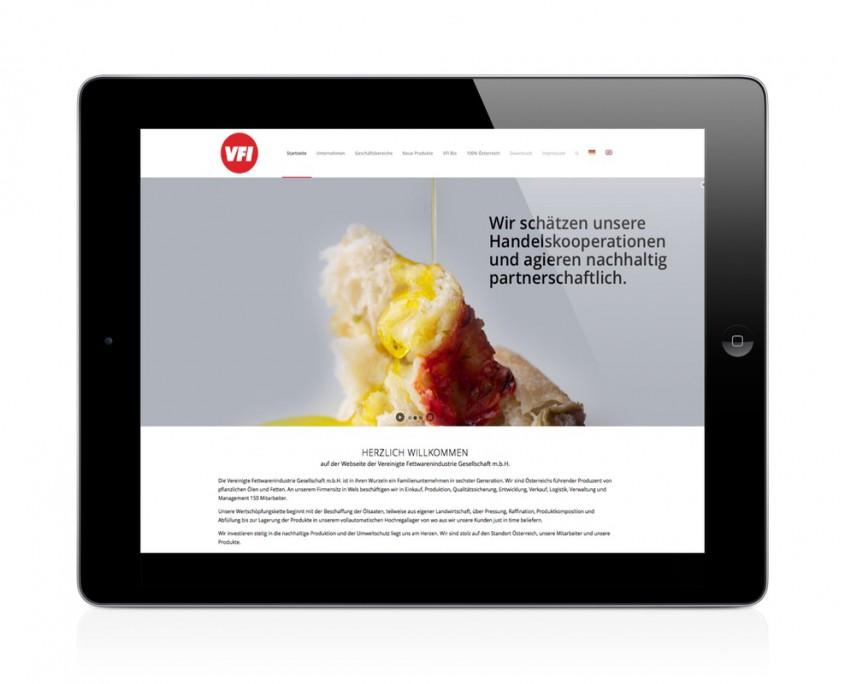 Konzeption und Programmierung VFI Industrie Webseite Mittelstand darstellung der Seite responsive am ipad.
