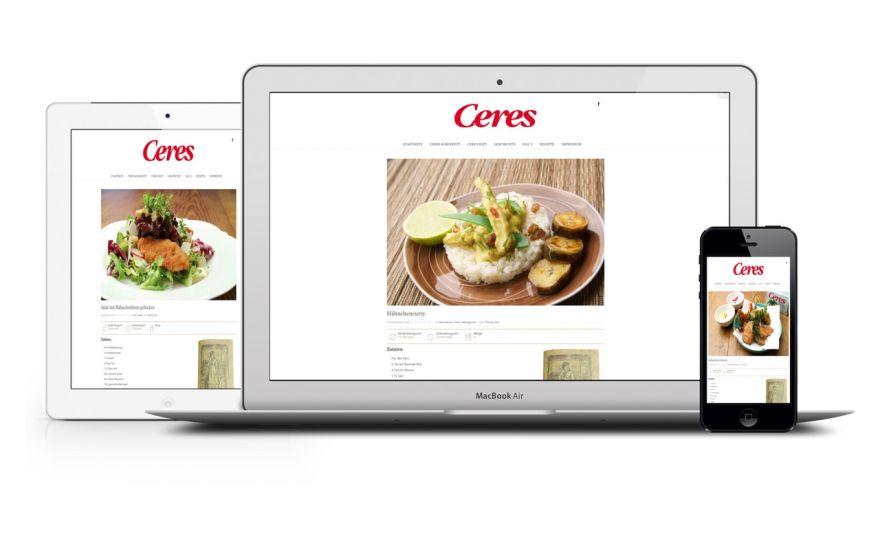 Ceres Kokosfett und Ceres Soft Rezepte auf verschiedenen Endgeräten, full responsive Webseiten Gestaltung.