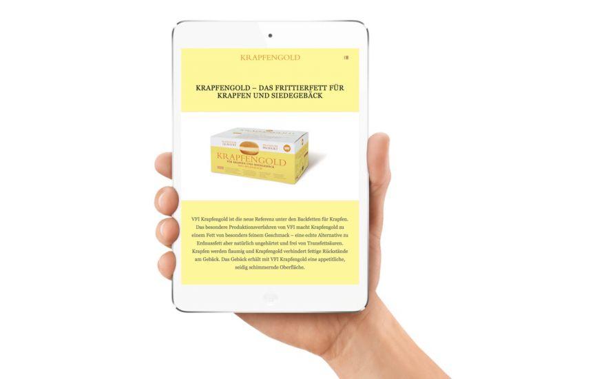 Kundenprojekt Erstellung der Krapfengold Webseite, responsive Design und Produktrelevante Umsetzung-