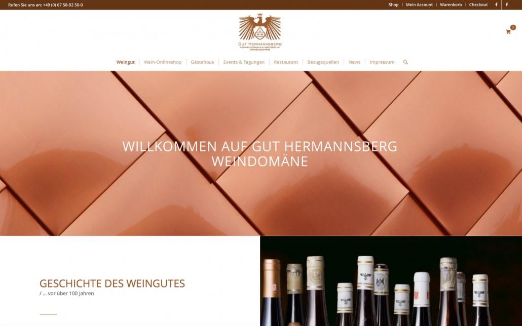 Weingut Webdesign mit Online Shop für Gut Hermannsberg. Online Marketing Beratung und Consulting.
