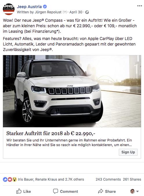 social media anzeigenerstellung für facebook beispiel einer werbeanzeige automobil branche