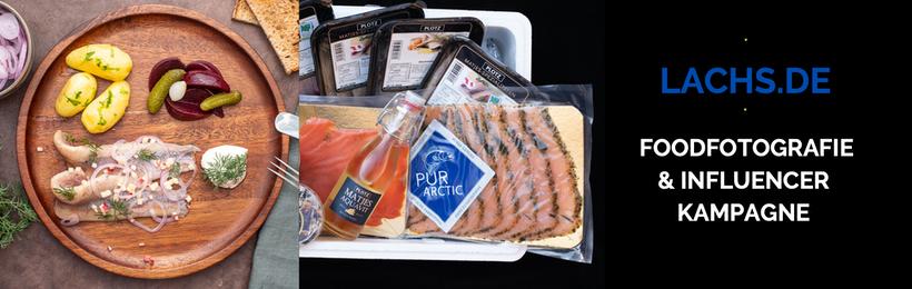 Banner zur Influencer Kampagne mit Lachs.de Food Fotografie, Rezepte-Entwicklung und Landing Page Optimierung